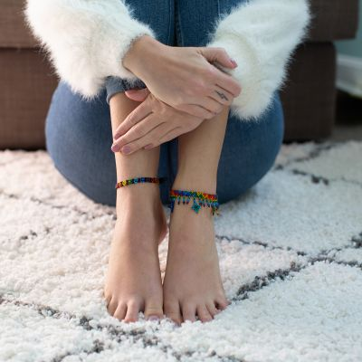 Rainbow Beaded Flower Anklet Guatemala Handmade Fair Trade Ethical Jewelry