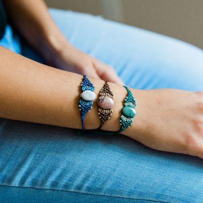 Lucia's Imports Wholesale Fair Trade Handmade Guatemalan Macrame Jade Bracelet