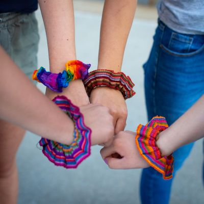 Fair Trade Handmade Guatemalan Rainbow Scrunchie