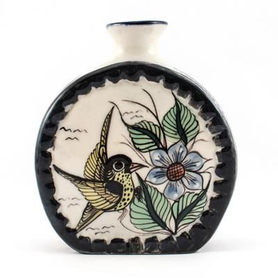 CR-27A Wild Bird Medallion Vase