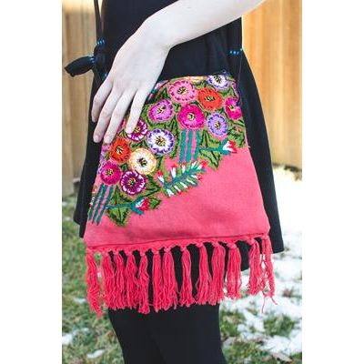 Fair Trade Fringe Purse Ethical Handbag Handmade Shop with purpose Floral Bag Guatemalan