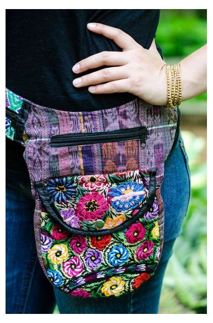 Recycled Upcycled Hipster Pack Crossbody Fair Trade Ethical Purse Handbag Fanny Pack Huipil Florals Sustainable