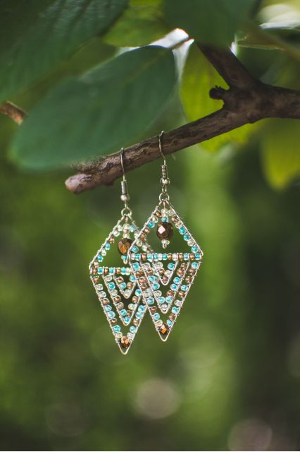 Handmade Fair Trade Beaded Earrings Guatemala Pyramid Crystal
