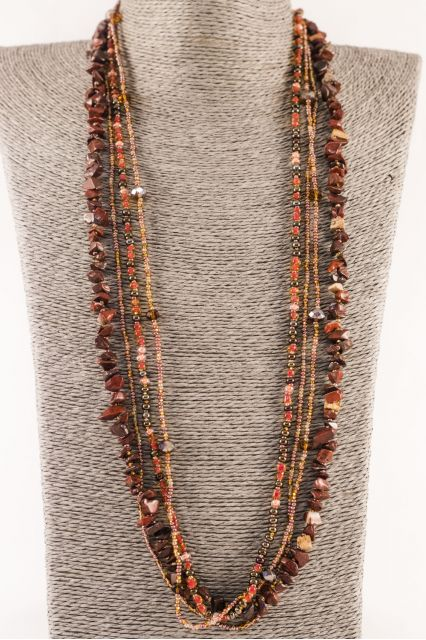 Fair Trade Handmade Beaded Guatemalan Long Rock Candy Necklace Jewelry