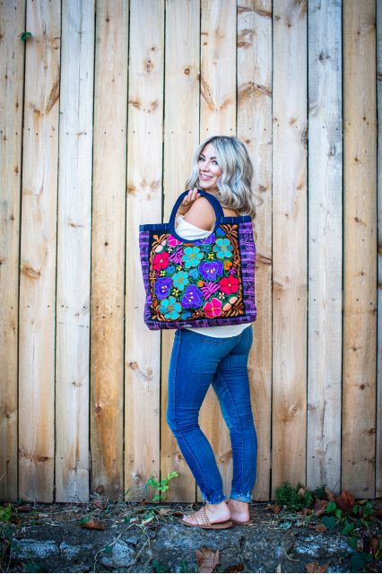 Fair Trade Embroidered Large Emily Tote Handbag Ethical Fair Fashion Bright Colors Guatemalan Imports Floral