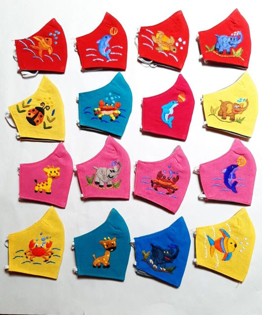 Children and kids hand embroidered fair trade face masks