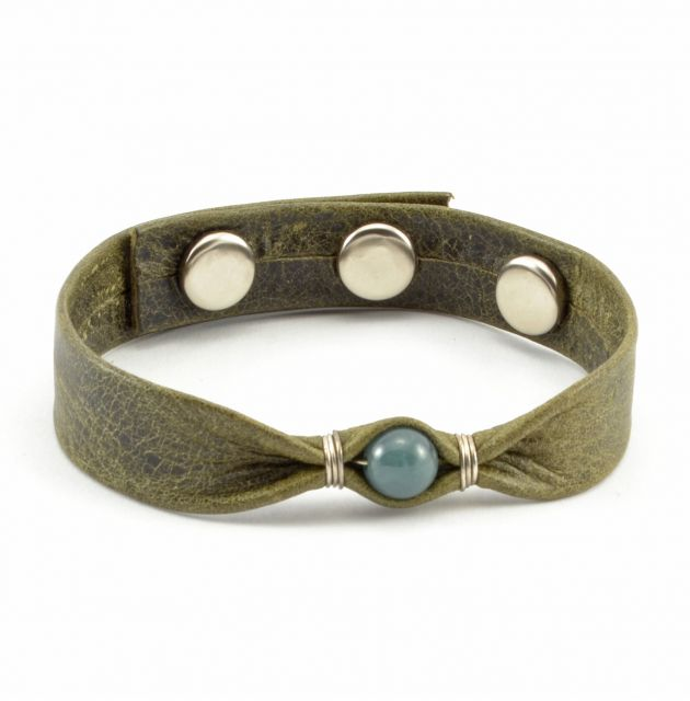 Lucia's Imports Fair Trade Handmade Guatemalan Leather Bracelet with Jade Bead