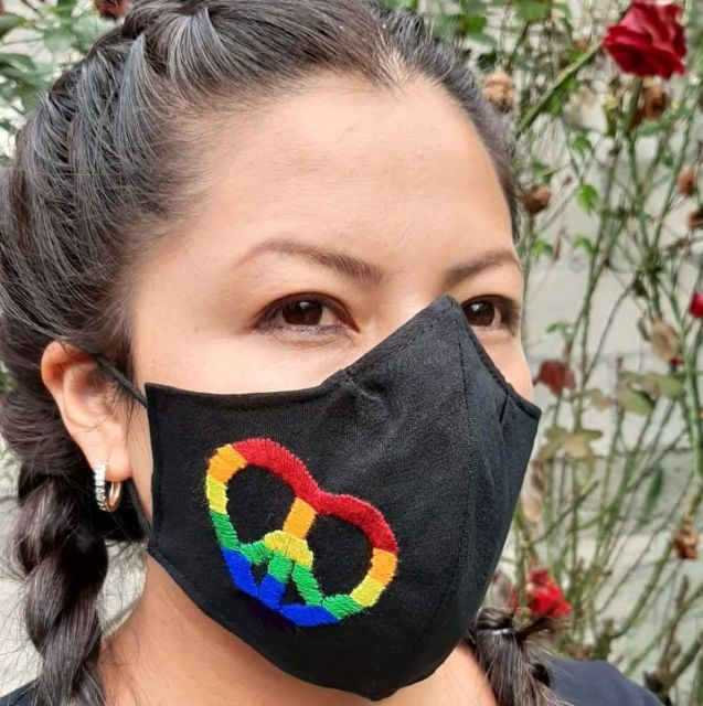 Hand Embroidered Rainbow Peace Face Mask Fair Trade Guatemala