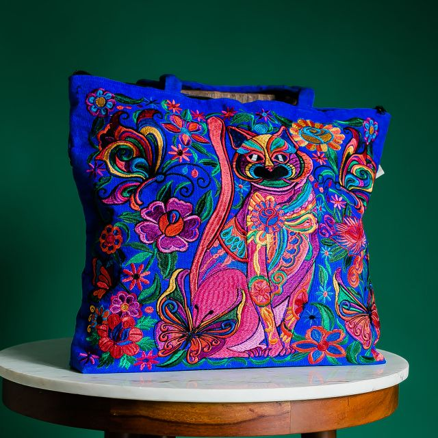 embroidered cat tote bag fair trade handmade Guatemalan