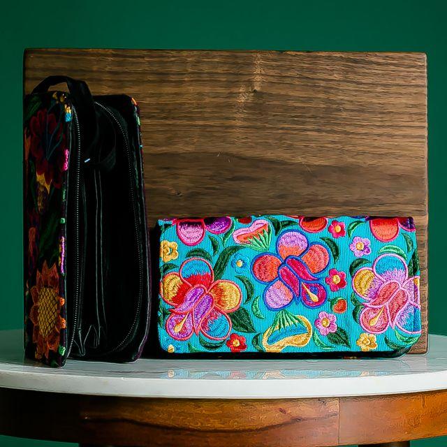 floral embroidered handmade fair trade wallet wristlet clutch