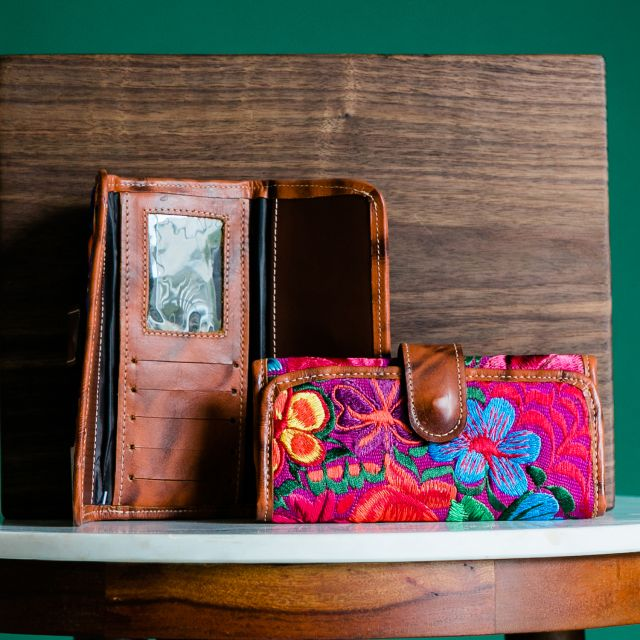 leather embroidered floral wallet fair trade guatemalan handmade