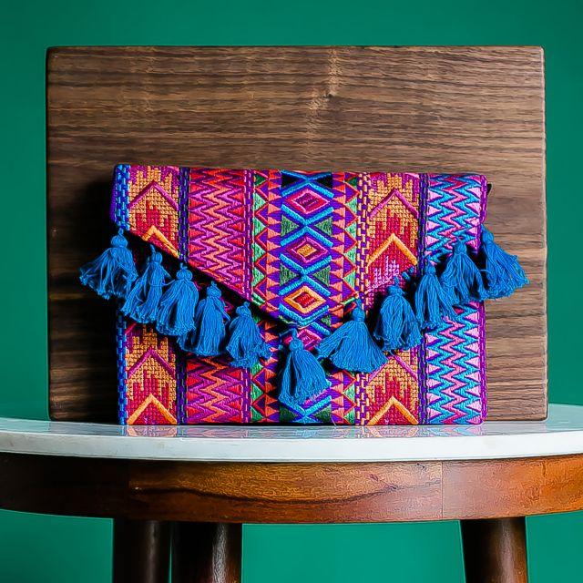 geometric clutch fiesta tassel handmade fair trade guatemalan