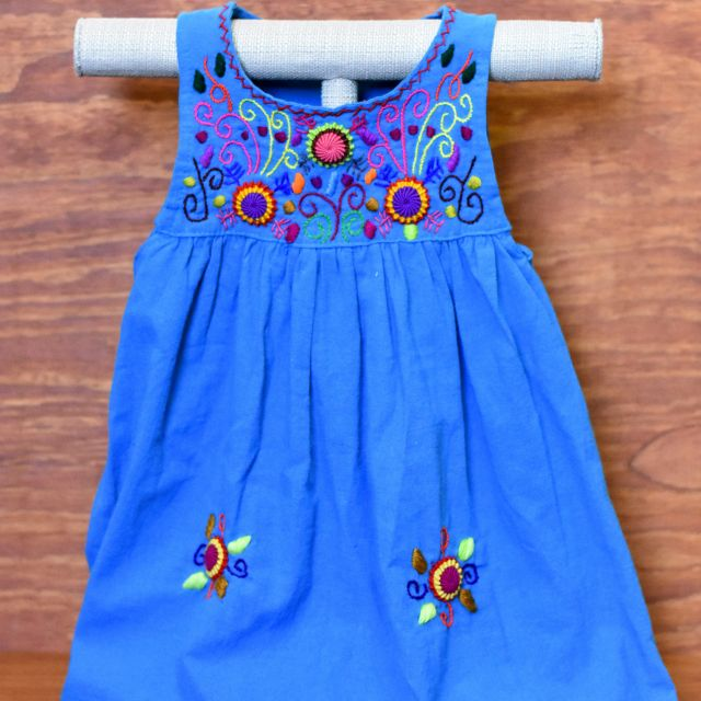 girls embroidered guatemalan floral  dress fair trade 100% cotton kids clothing