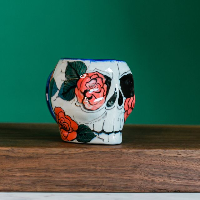 Lucia's Imports Wholesale Handmade Fair Trade Guatemalan Ceramic Sugar Skull Skeleton Mugs Rose Design