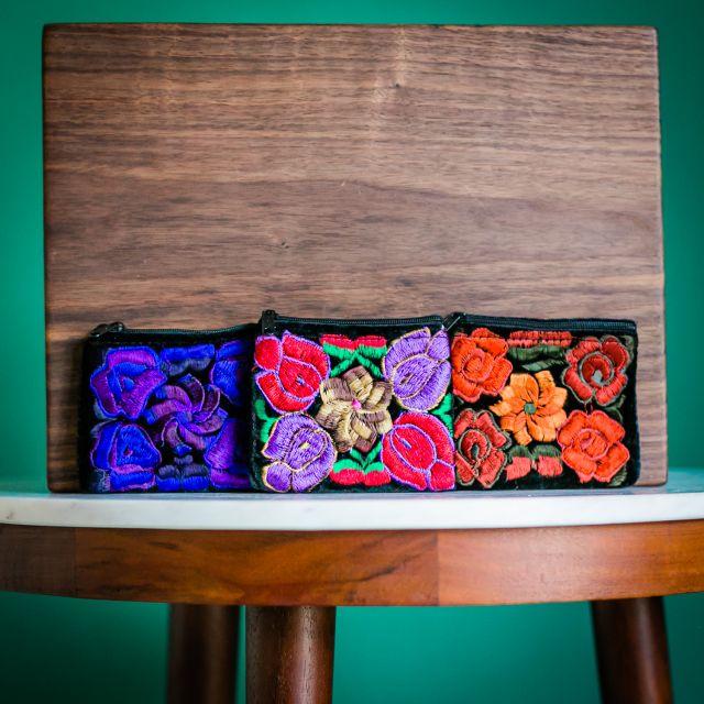 Guatemalan fair trade Velvet coin bag