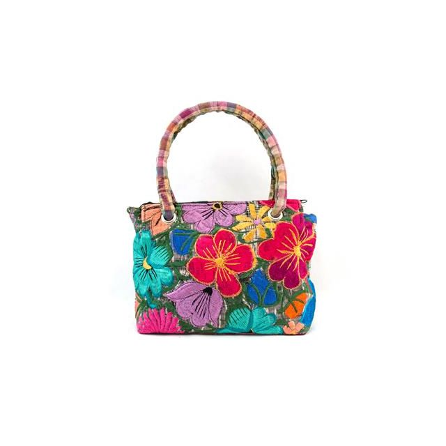 Huipil Purse Handmade Handbag Ethical Style Fair Trade Fashion Bright Purse Florals Guatemalan