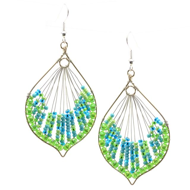 Cleo Earrings in Turquoise Lime Fair Trade Guatemalan Hand Made Earrings