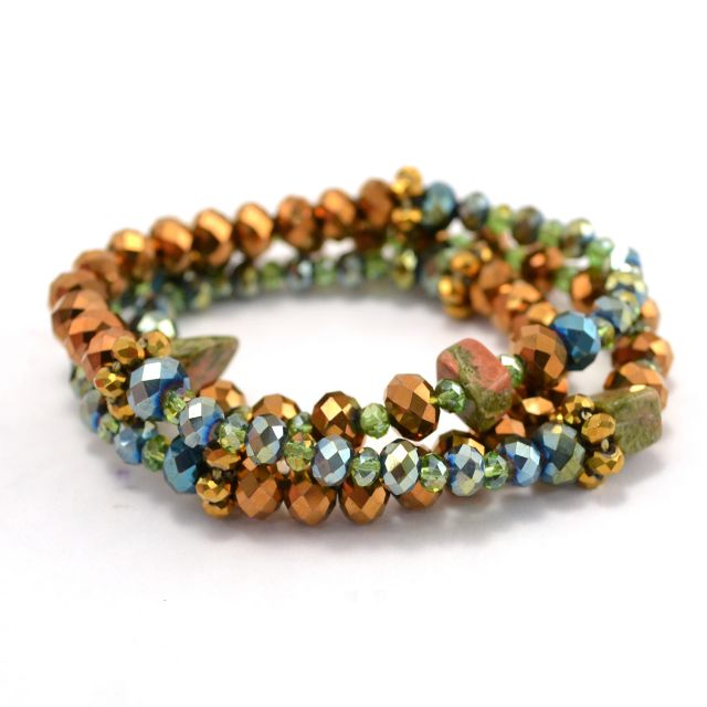 Vintage Crystal Wrap Bracelet in Gold/Green