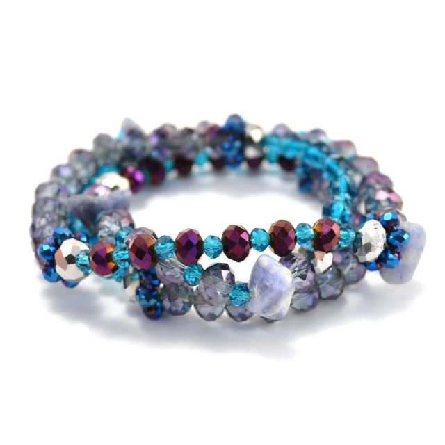 Vintage Crystal Wrap Bracelet in blue
