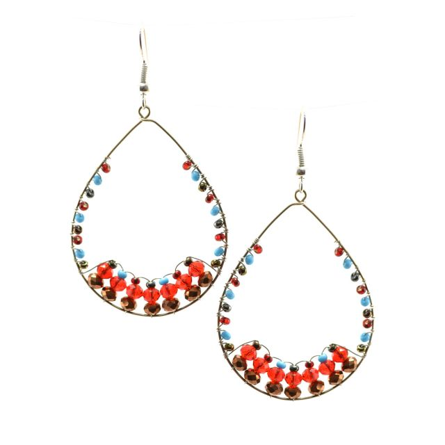 Vintage Hoop Earring Red Multi