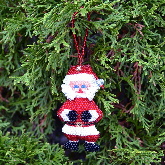 Large Fair Trade Handmade Guatemalan Beaded Santa Ornament