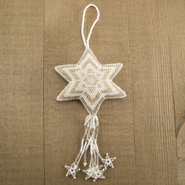 Fair Trade Handmade Guatemalan Large Beaded Star Ornament