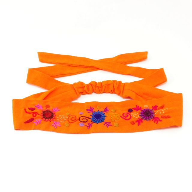 Embroidered Handmade Fair Trade Tie Headband