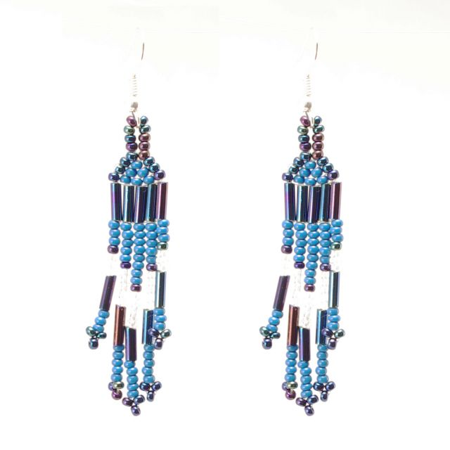 Comet Earring Feather Handmade Jewelry Fair Trade Beaded Strands