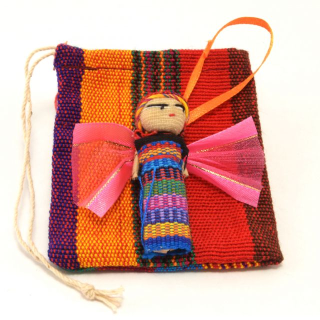 Fair Trade Handmade Guatemalan Worry Doll Angel Ornament