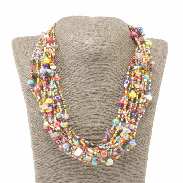 Lucia's Imports Wholesale Fair Trade Handmade Necklace Beaded Guatemalan Jewelry Multi Strand Multi Crystals Beach Ball