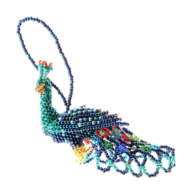 Fair Trade Handmade Guatemalan Large Beaded Peacock Ornament