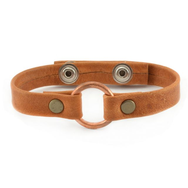Fair Trade Handmade Guatemalan Copper Bridle Leather Bracelet Mens