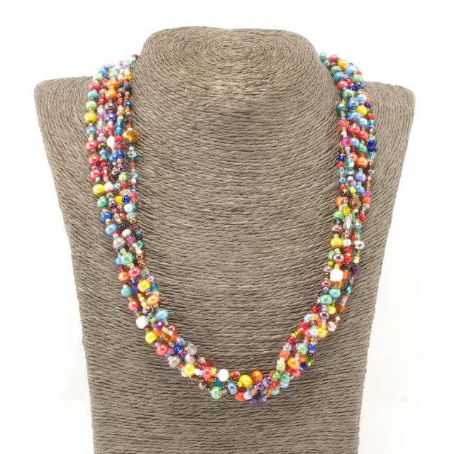 Fair Trade Jewelry Guatemalan Necklace Gumball Beads Multi Colored