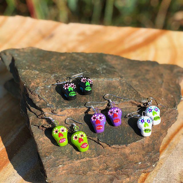 Fair Trade Handmade Guatemalan Skeleton Ceramic Earrings