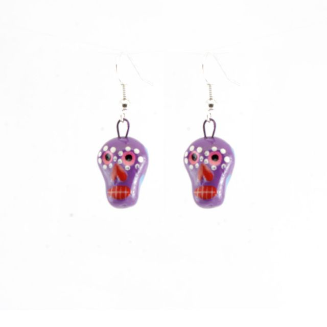 Fair Trade Handmade Guatemalan Skeleton Ceramic Earrings