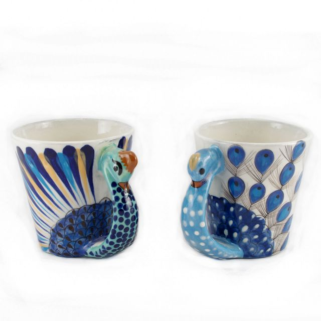 Fair Trade Handmade Guatemalan Ceramic Peacock Coffee Mug