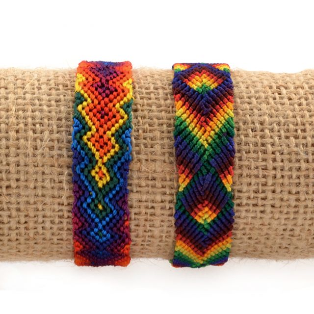 Lucia's Imports Fair Trade Handmade Guatemalan Wide Silk Rainbow Friendship Bracelet pride