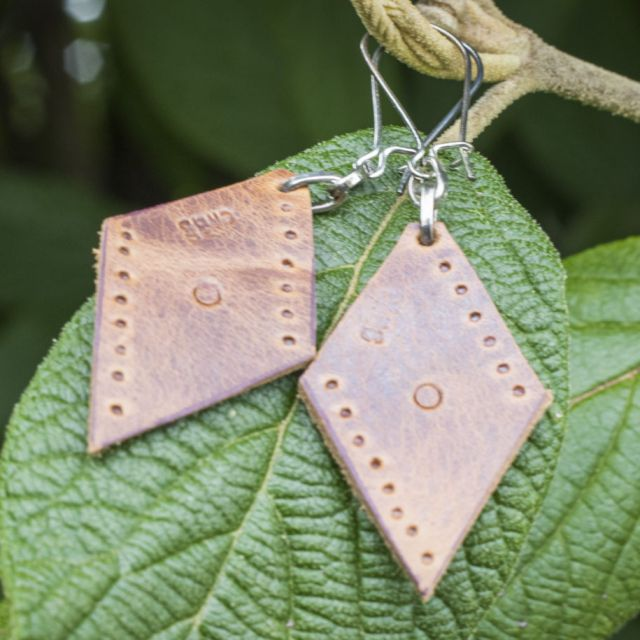 Lucia's Imports Fair Trade Handmade Guatemalan Small Leather Earring