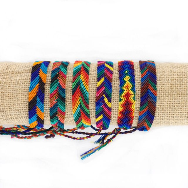 Lucia's Imports Fair Trade Handmade Wide Silk Friendship Bracelet from Guatemala