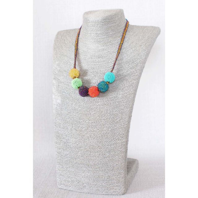 Lucia's Imports Fair Trade Handmade Guatemalan Beaded Carnival Necklace