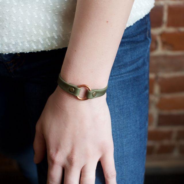 Fair Trade Handmade Guatemalan Copper Bridle Leather Bracelet Mens