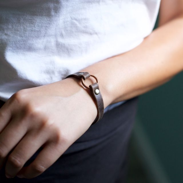 Fair Trade Handmade Guatemalan Copper Bridle Leather Bracelet Mens and women