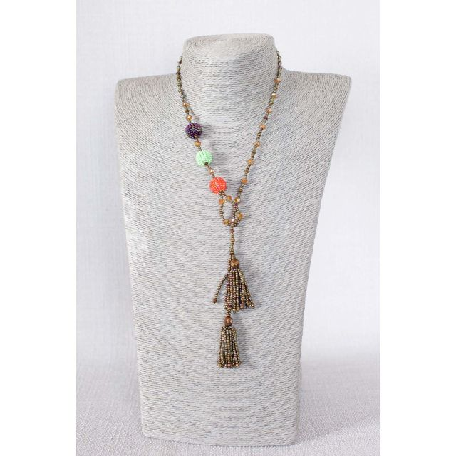 Fair Trade Handmade Guatemalan Beaded Fiesta Lariat Necklace