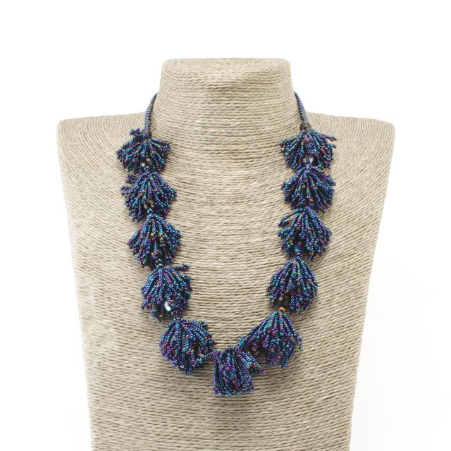 Fair Trade Jewelry Guatemalan Beads Pom Pom Necklace Handmade