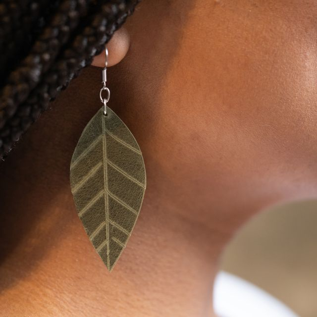 Lucia's Imports Fair Trade Handmade Guatemalan Large Leather Earrings