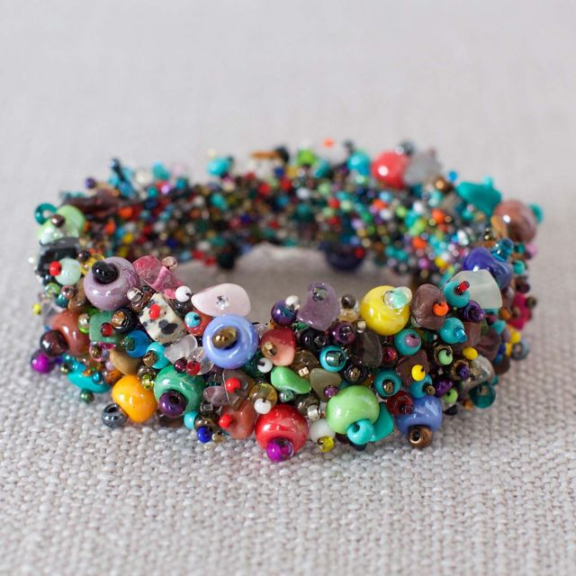 Fair Trade Handmade Guatemalan Beaded Jewelry Bracelet Caterpillar Chunky Jewelry Bracelet