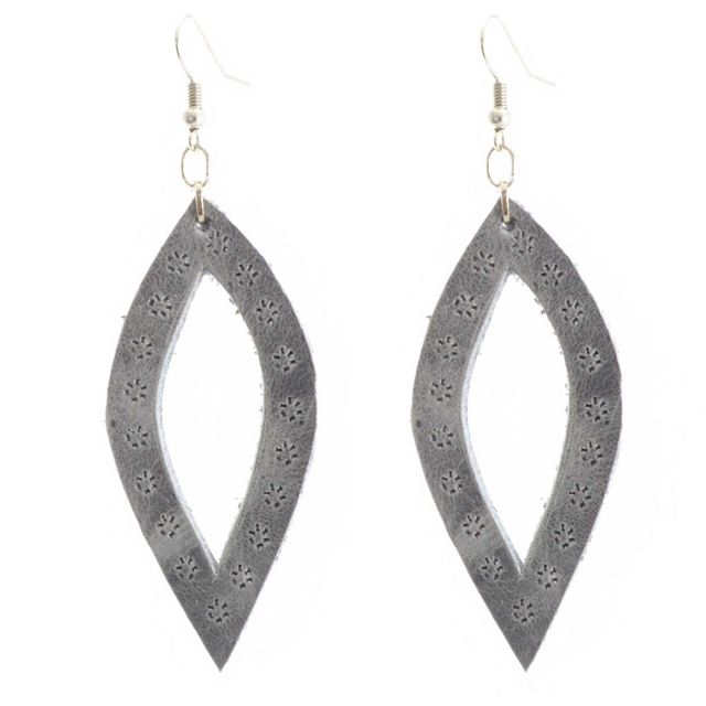 Lucia's Imports Fair Trade Handmade Oval Leather Earrings from Guatemala