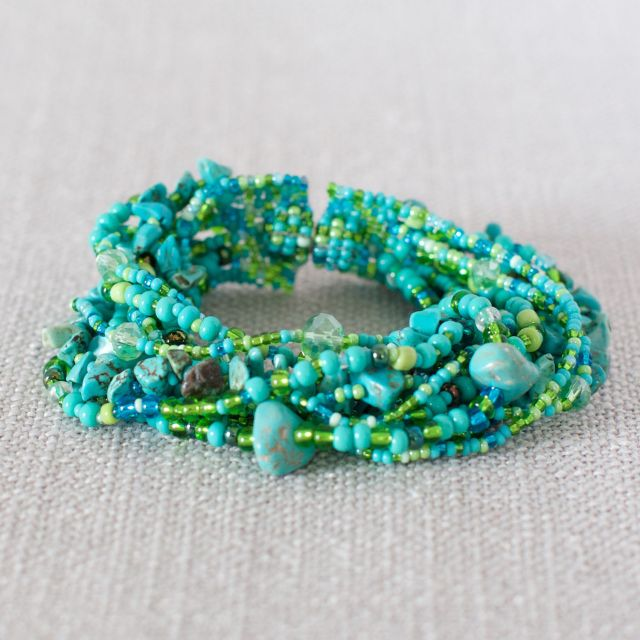 Fair Trade Handmade Guatemalan Magnetic Beaded Bracelet Turquoise Lime