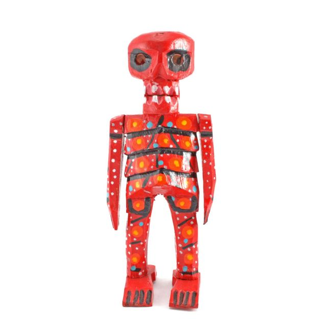 Wood Skeleton Figurine Statue Hand Painted Hand Carved Fair Trade Handmade Unique Designs Day of the Dead
