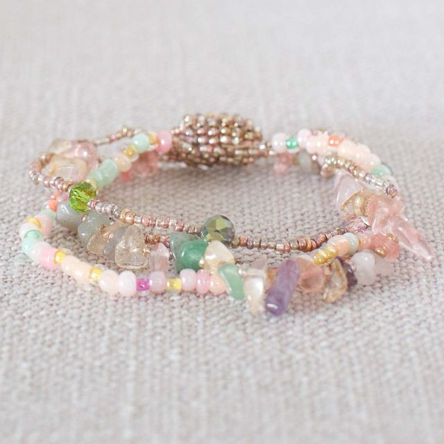Fair Trade Handmade Guatemalan Small Rock Candy Magnetic Bracelet